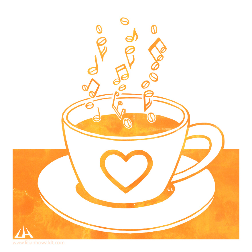 Digital illustration of a filled coffee mug. The steam has the form of notes whose heads look like coffee beans.