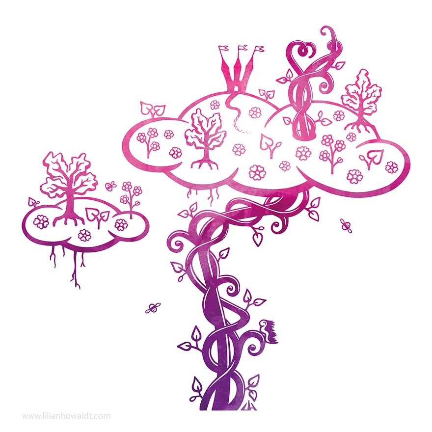 Digital illustration of a beanstalk reaching into the clouds, where trees are growing, flowers are blooming, bees are flying around and a castle is keeping watch over all of it.