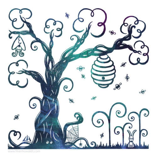 Digital Illustration of a whimsical mysteriously glowing tree surrounded by a bat, a rabbit, loads of bees and a spider.