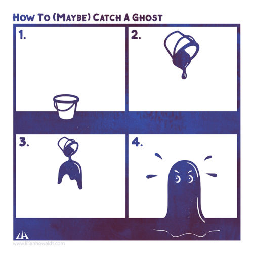 Digital illustration with instructions on how to maybe catch a ghost with the help of a paint bucket. The paint covers the ghost in paint and thereby makes it visible.