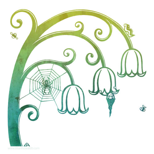 Digital illustration of a lilly of the valley with a fairy hiding within, a spiderweb with a spider, a very happy looking caterpillar and two little bees.