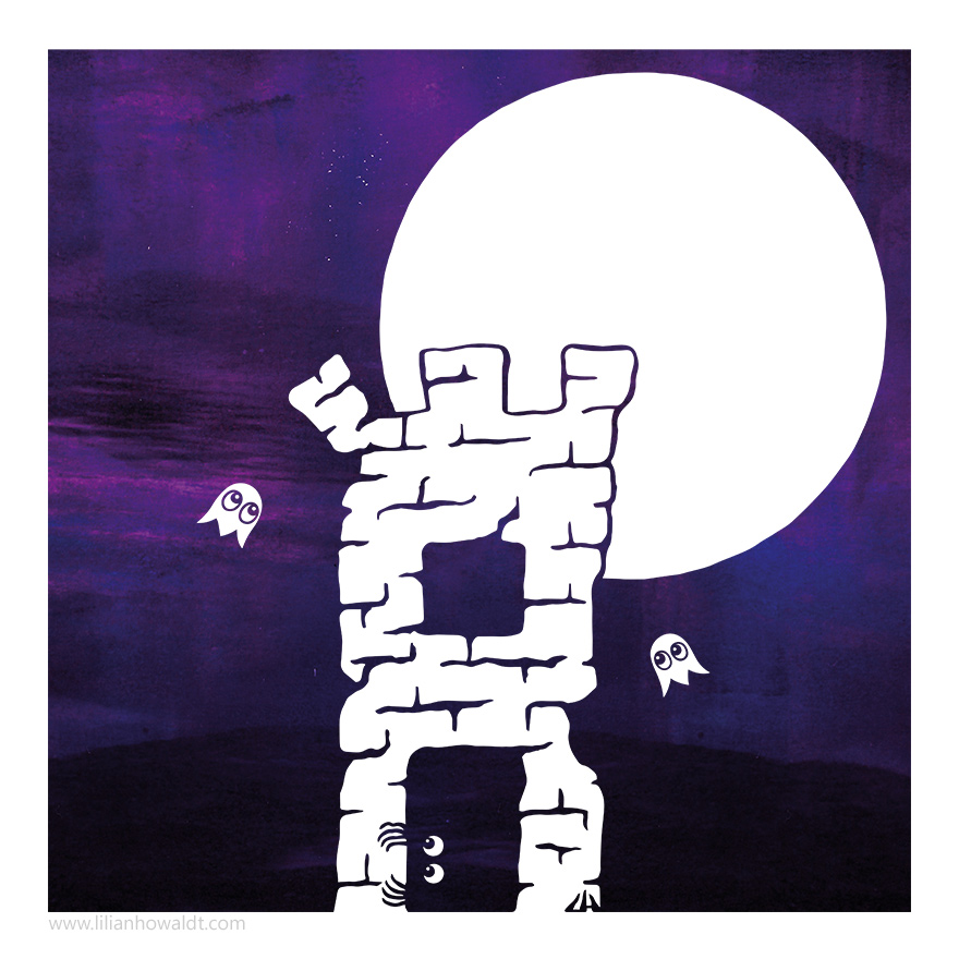 Digital illustration of a tower with a little creature hiding inside. Two little ghosts are circling the tower and the full moon is shining bright in the background.