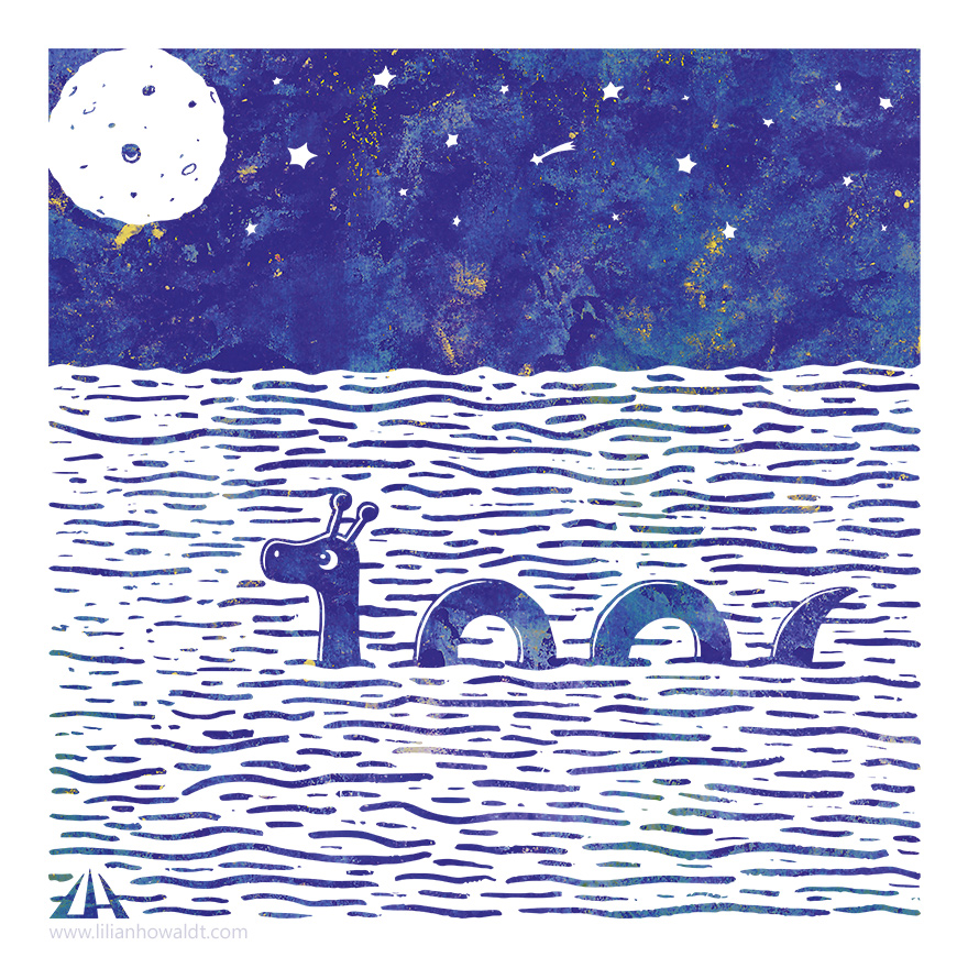Digital illustration of Nessie the Loch Ness Monster swimming in the light of a full moon with a sky full of stars.