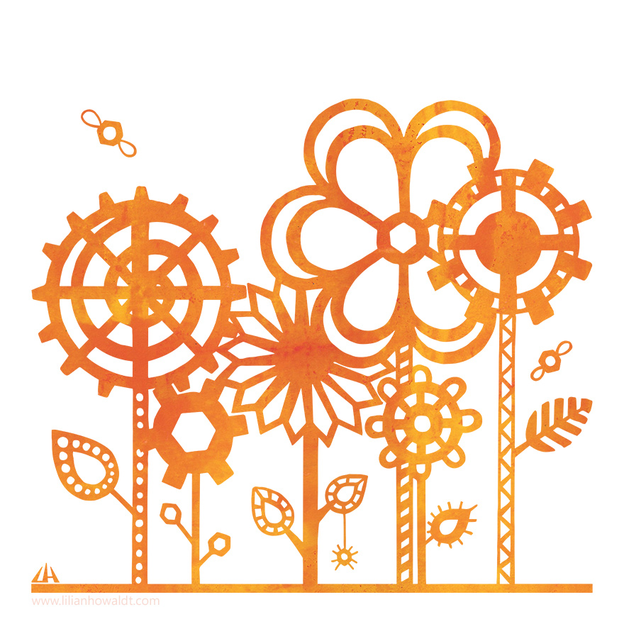 Digital Illustration of bright orange steampunk flowers with little winged nuts flying around.
