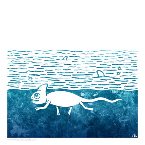 Digital Illustration of a chameleon swimming in the sea, pretending to be a shark.