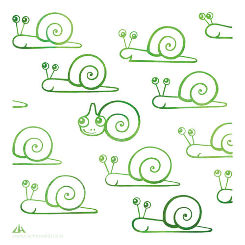 Digital Illustration of a little green chameleon surrounded by snails.