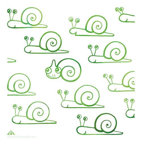 Digital Illustration of a little green chameleon surrounded by snails.