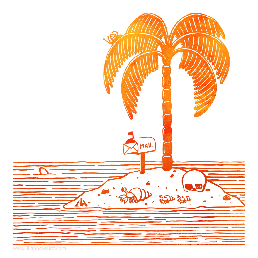 Digital illustration of a tiny island with a single palm tree, a skull, a family of hermit crabs, a mailbox with a letter in it and a shark in the sea.