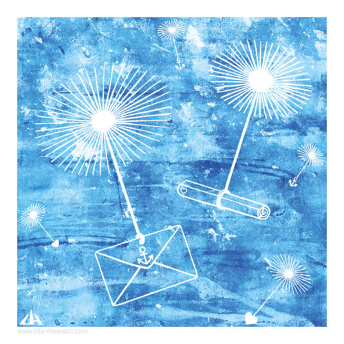 Digital illustration of flying dandelion parachutes. Some of them are carrying letters; others are carrying hearts or anchors as seeds.