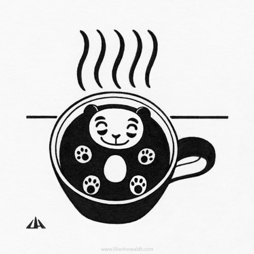 Illustration of a cute and very happy little panda, floating in a cup of coffee.