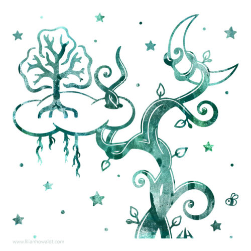 Digital illustration of a beanstalk reaching high up into the sky, piercing a cloud and wrapping itself around the moon.