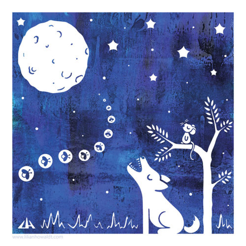 Digital illustration of a werewolf howling at the full moon, accompanied by a cute little mouse, sitting in a tree, howling along with the wolf.