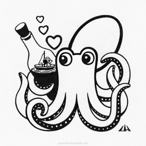 Illustration of an octopus holding a bottle, containing a tiny ship with a cute little mouse on board.
