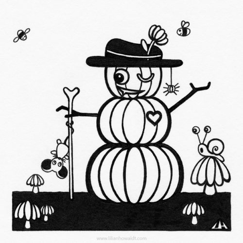 Illustration of a pumpkin man, a pole dancing mouse, an impressed snail, a cute pumpkin spider and two cute bees.