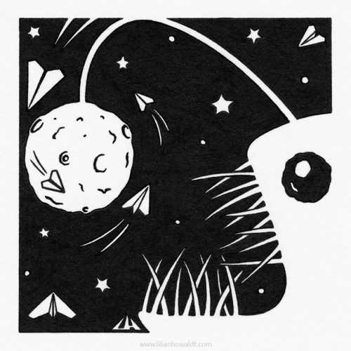 Illustration of a creepy angler fish in space, preying on paper planes.