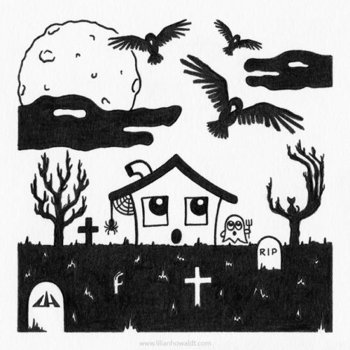 Illustration of a cute little haunted house with cobwebs and a spider, a cute ghost with a pitchfork and a cat sitting in a tree. They are surrounded by a graveyard and huge black birds are approaching from the sky, accompanied by clouds shaped as alligator heads.