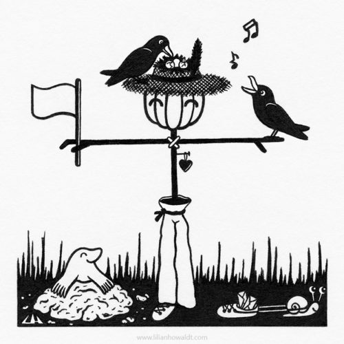 Illustration of a very friendly and happy looking scarecrow wearing a straw hat. The hat holds a nest with three little eggs inside and the crow parents are keeping watch and singing nearby. There is also a cute little mole and a snail using one of the scarecrow's shoes for transporting snail mail.