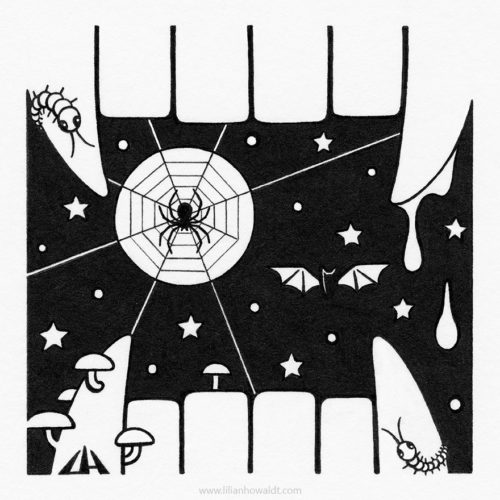 Illustration of a creepy night sky with a full moon, a spider, two centipedes, a bat and mushrooms, framed by vampire teeth with blood dripping from them.