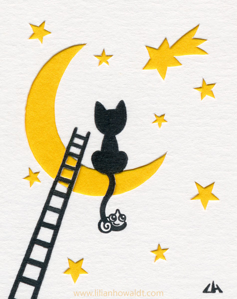 Silhouette of a cat, sitting on the moon, with a tiny chameleon clinging to its tail. The sky is filled with stars and a ladder is leaning against the moon. Ink drawing with papercut elements.
