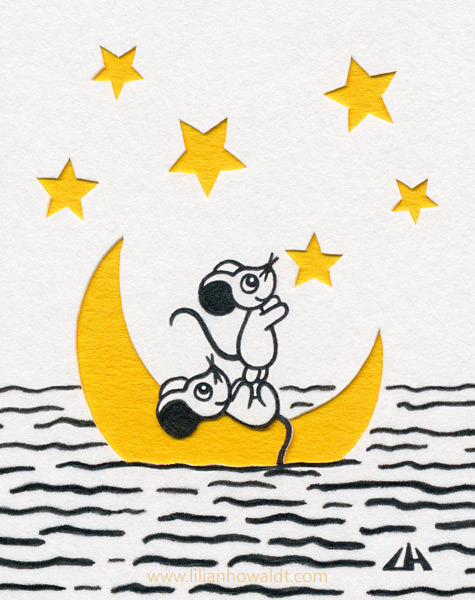 Two cute little mice reaching for a star, while on top of a moon floating in the sea. Ink drawing with papercut elements.