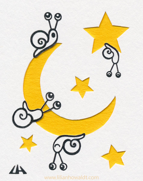 Three cute snails on a moon and one snail on a star. Ink drawing with papercut elements.