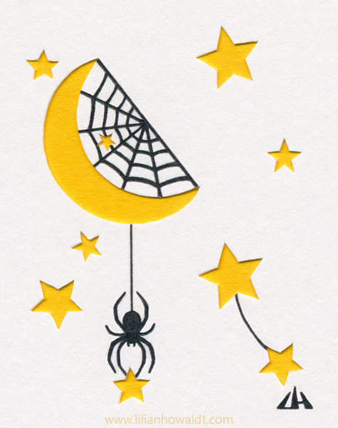 Spider hanging from the moon, reaching for a star, with a spider web in the moon. All set up for catching stars. Ink drawing with papercut elements.