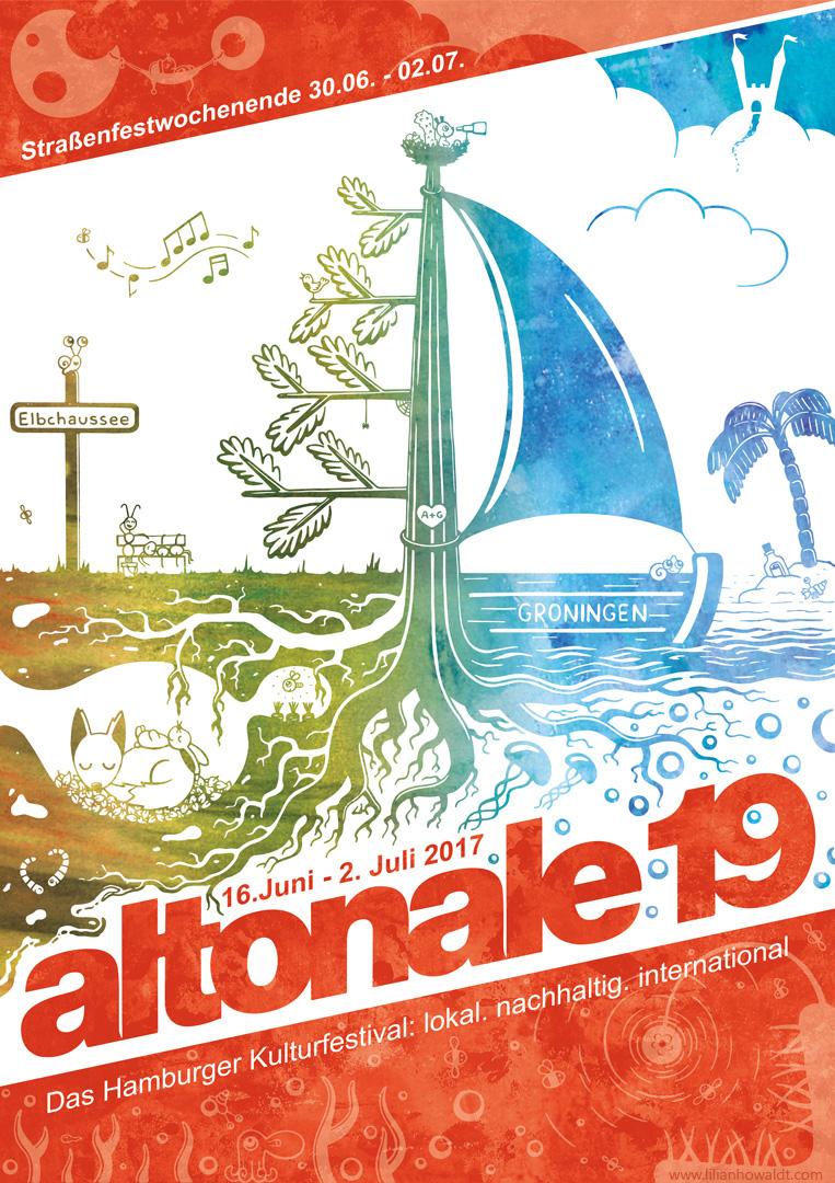 Digitale Illustration und Entwurf für den Altonale Plakatwettbewerb 2017