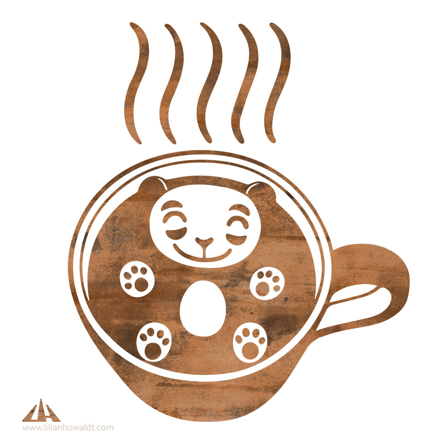 Digital illustration of a very happy panda swimming in a cup of steaming coffee.