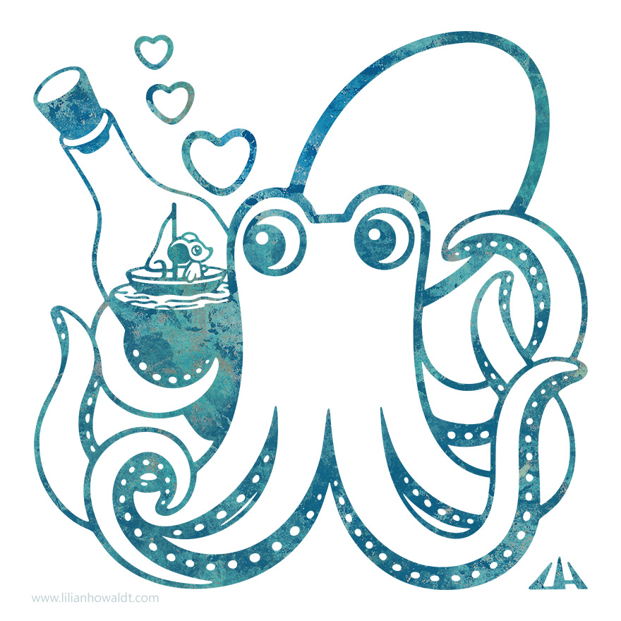 Digital illustration of an octopus holding a bottle with a cute tiny mouse on a boat within.