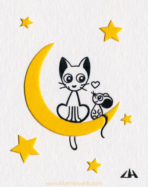 Cute cat and mouse sitting side by side on the moon. Ink drawing with papercut elements.