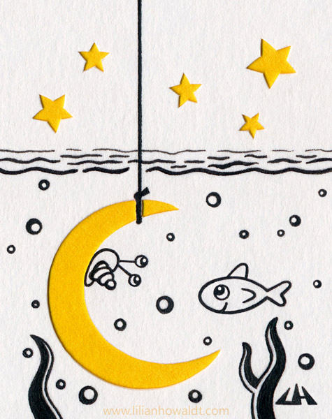 Cute little fish and snail, intrigued by a moon hook hanging into the sea.