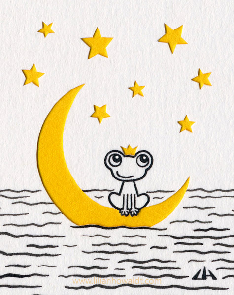 Cute little frog sitting on a moon floating in the sea. One of the stars behind him makes it look like he is wearing a crown. Ink drawing with papercut elements.