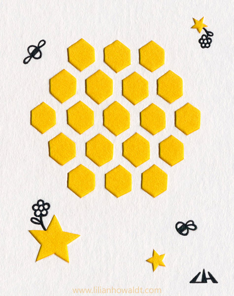 Cute little minimalist bees flying towards a honeycomb moon. Ink drawing with papercut elements.