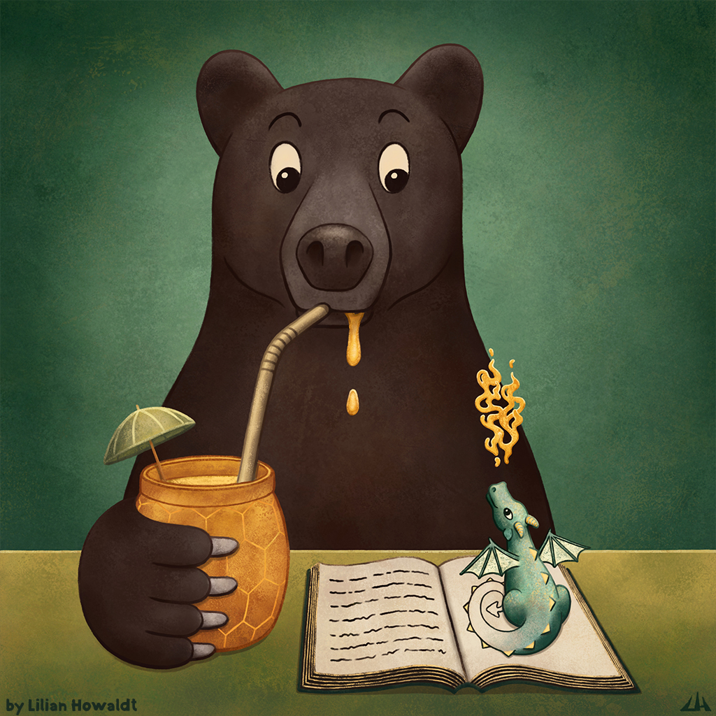 Digital Illustration of a bear with his honey drink, who's surprised by a cute little dragon crawling out of his book.