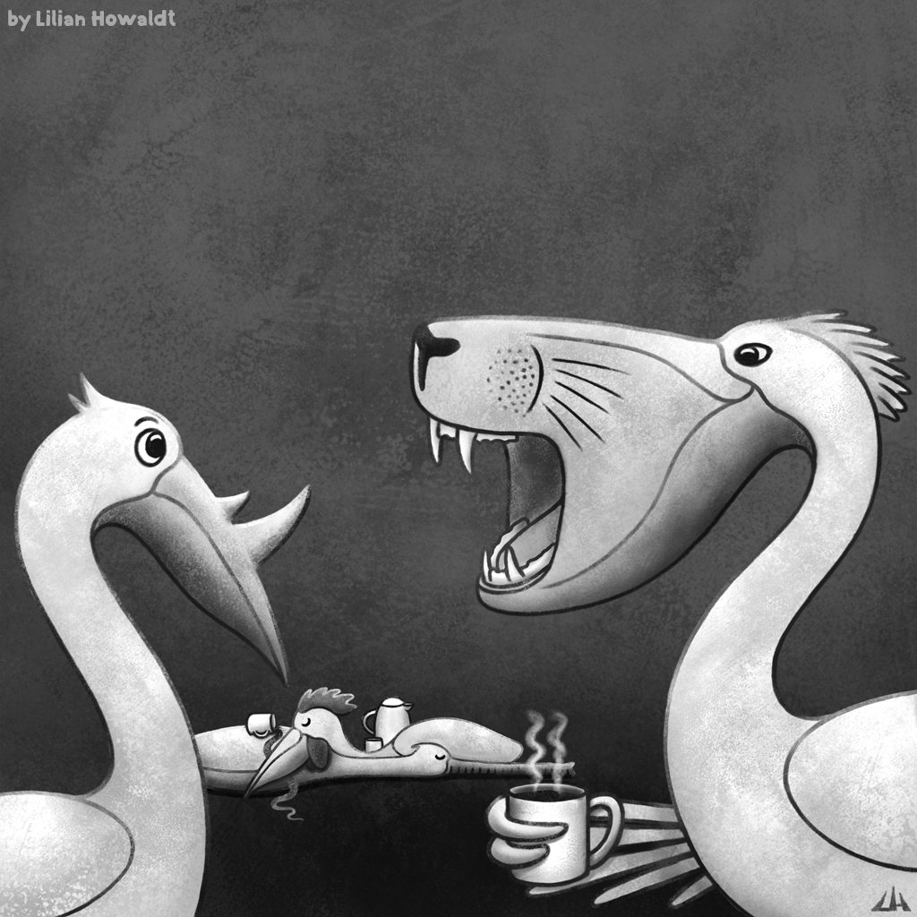 Digital Illustration of pelicans mutated because of caffeine.