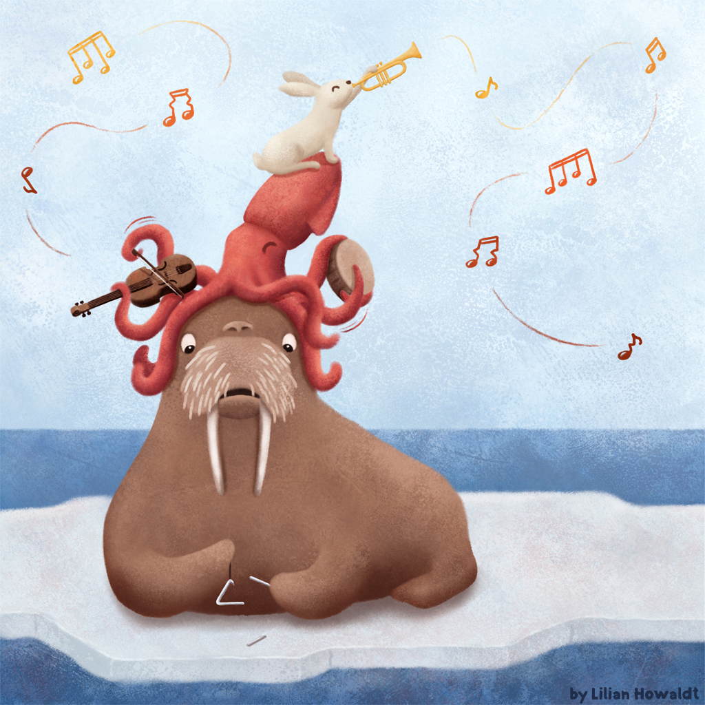 Digital Illustration of a walrus, a squid and a rabbit playing instruments.