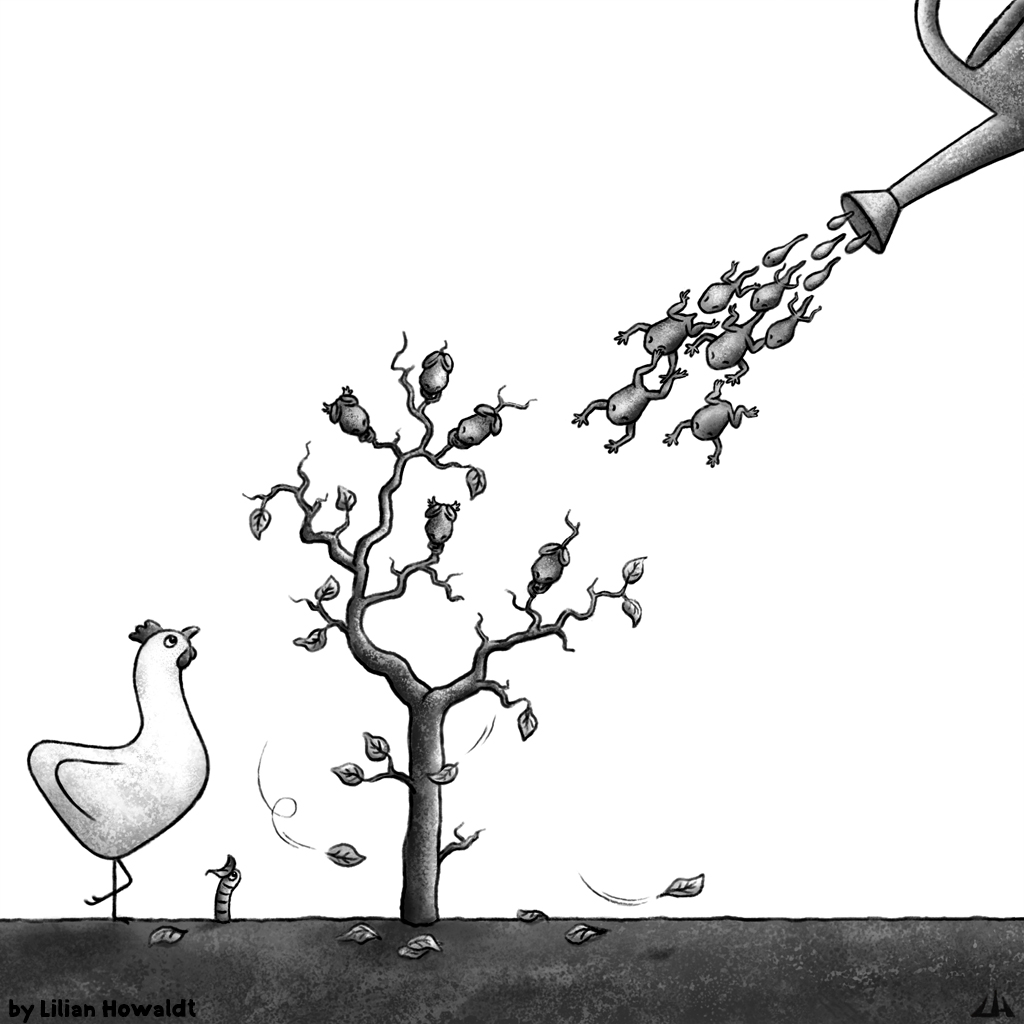 Digital Illustration of A tree in autumn with frogs as leaves, a chicken and a worm.