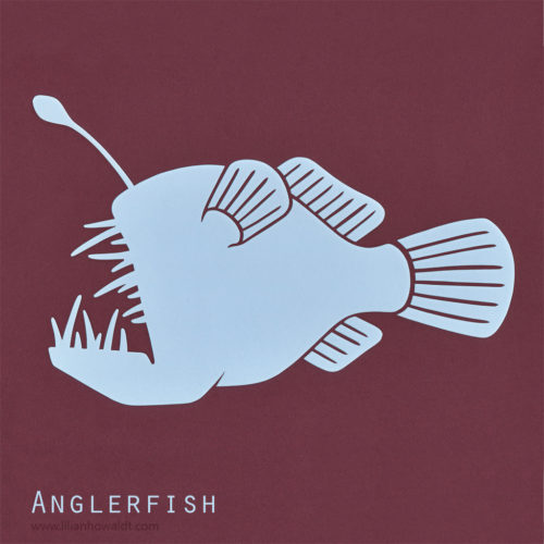 A colourful, abstract and minimalist papercut of an anglerfish.