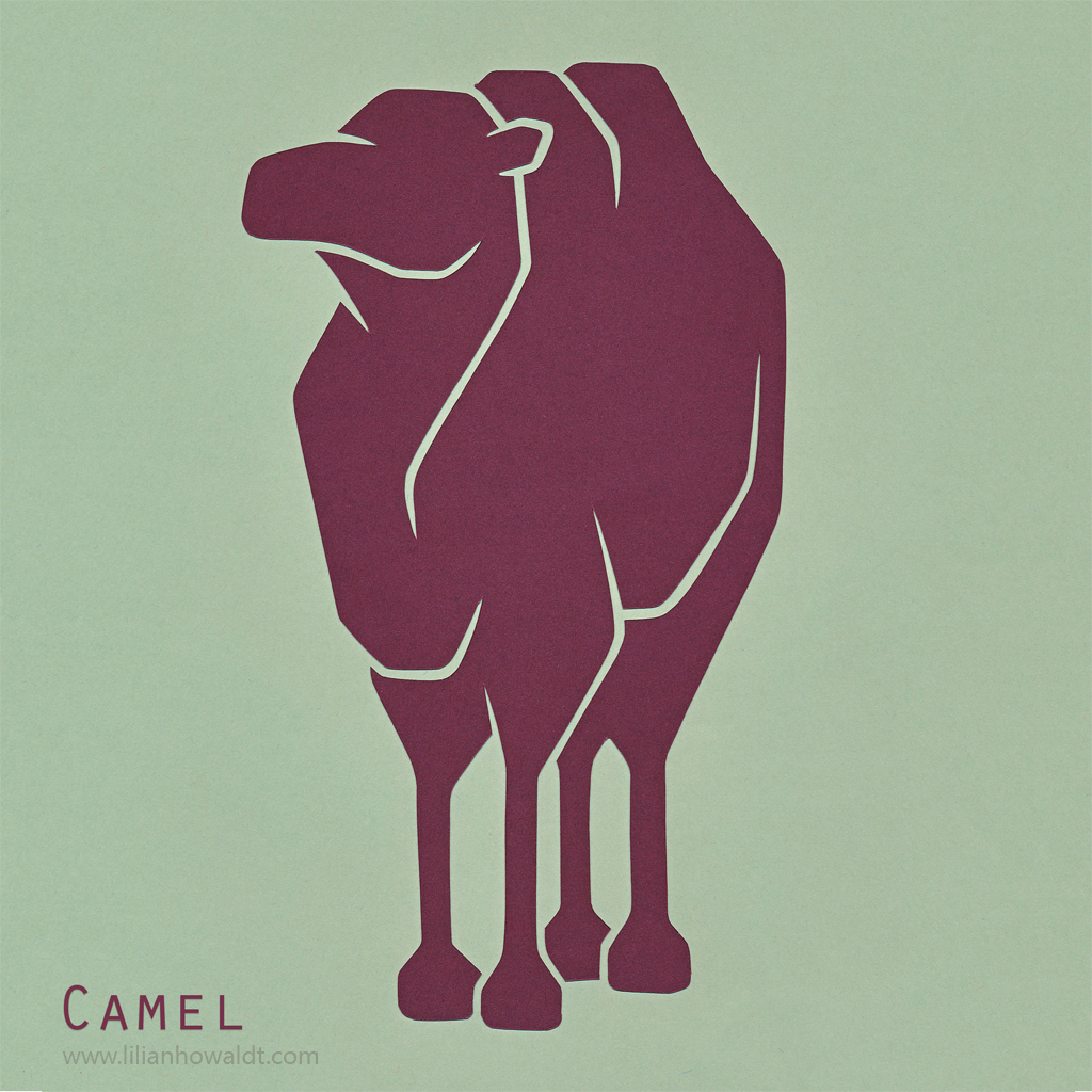 A colourful, abstract and minimalist papercut of a camel.