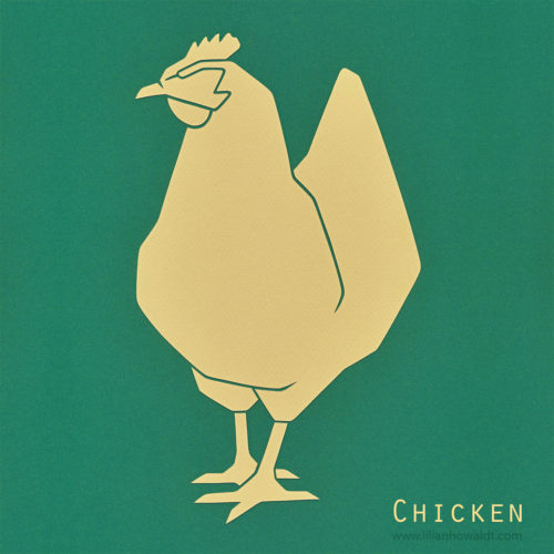 A colourful, abstract and minimalist papercut of a chicken.