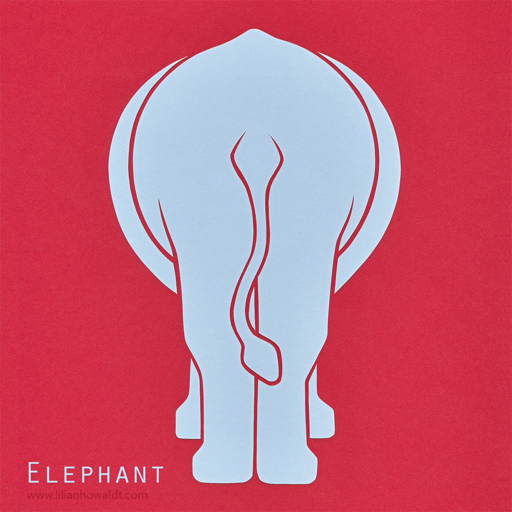 A colourful, abstract and minimalist papercut of an elephant.