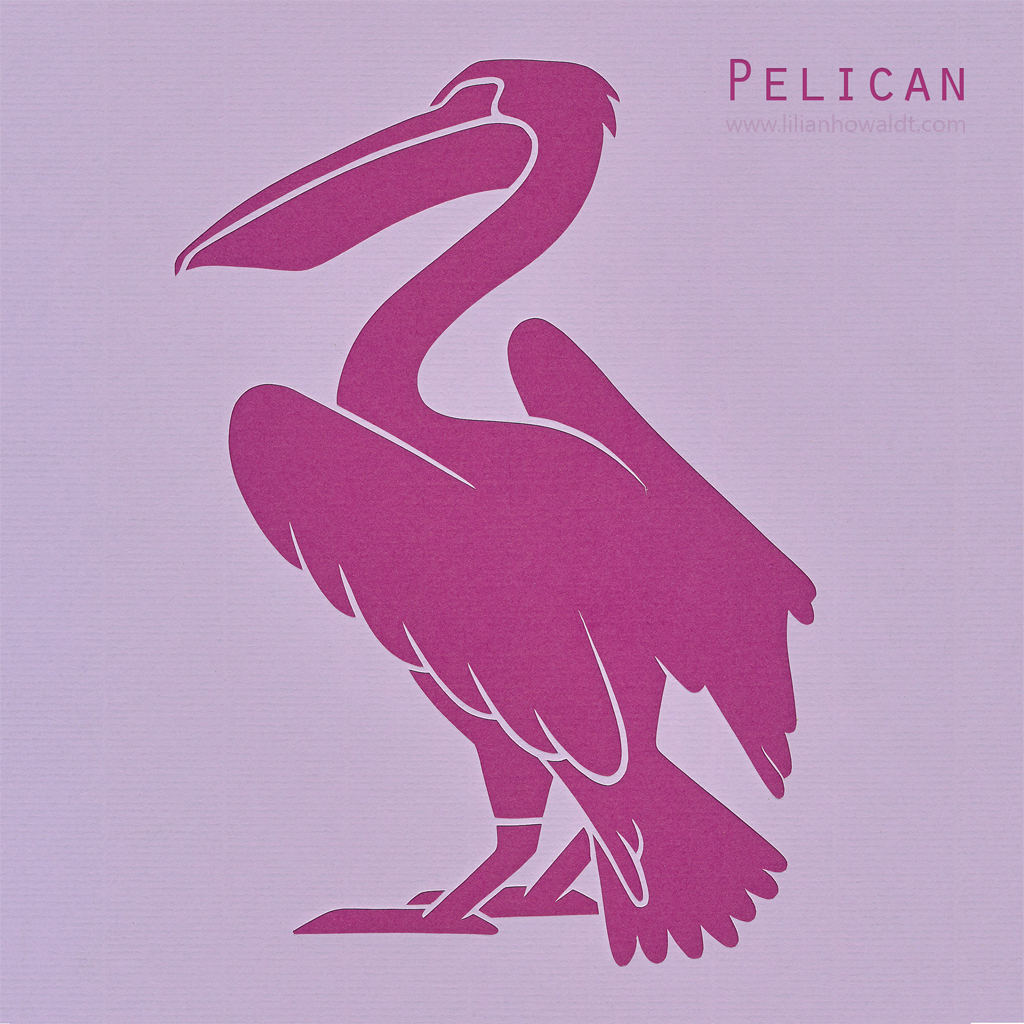 A colourful, abstract and minimalist papercut of a pelican.
