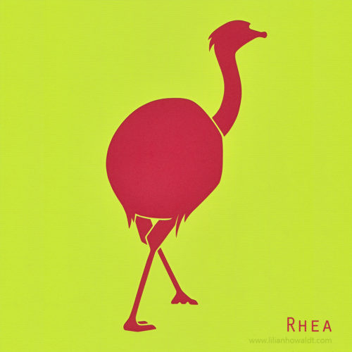 A colourful, abstract and minimalist papercut of a rhea.